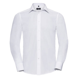 Russell Collection Long Sleeve Polycotton Easycare Fitted Poplin Shirt