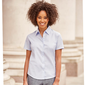 Russell Collection Womens Short Sleeve Oxford Shirt