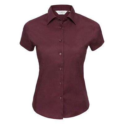 Russell Collection Womens Short Sleeve Easycare Fitted Stretch Shirt