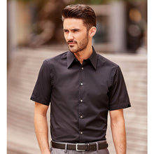 Load image into Gallery viewer, Russell Collection Short Sleeve Tencel Fitted Shirt