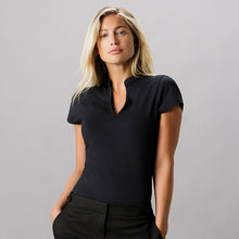 Load image into Gallery viewer, Kustom Kit Womens Corporate Short Sleeve Top V-neck Mandarin Collar