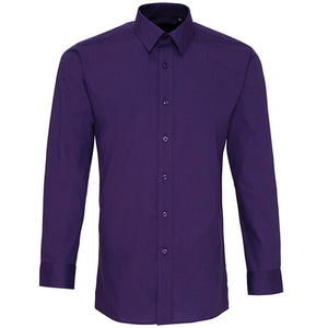 Premier  Colours Poplin Fitted Long Sleeve Shirt