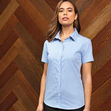 Load image into Gallery viewer, Premier  Womens Microcheck (gingham) Short Sleeve Cotton Shirt