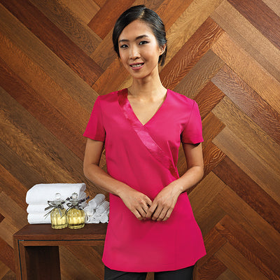 Premier Rose Beauty And Spa Wrap Satin Trim Tunic