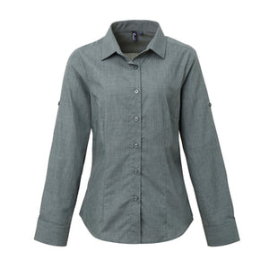 Premier  Womens Poplin Cross-dye Roll Sleeve Shirt
