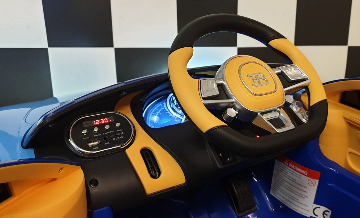 Licensed Bugatti Chiron 12V Ride on Kids Electric Car With Remote Control - Blue