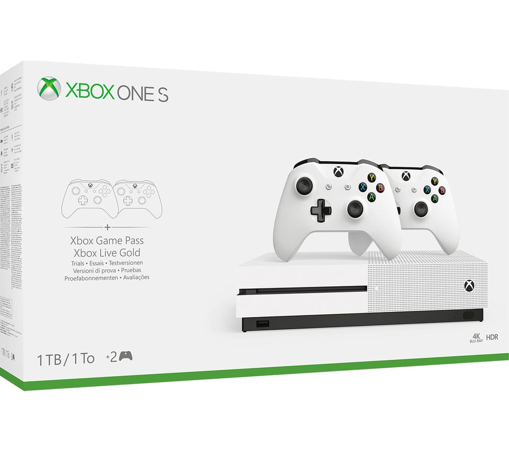 MICROSOFT Xbox One S with Dual Wireless Controllers - 1 TB