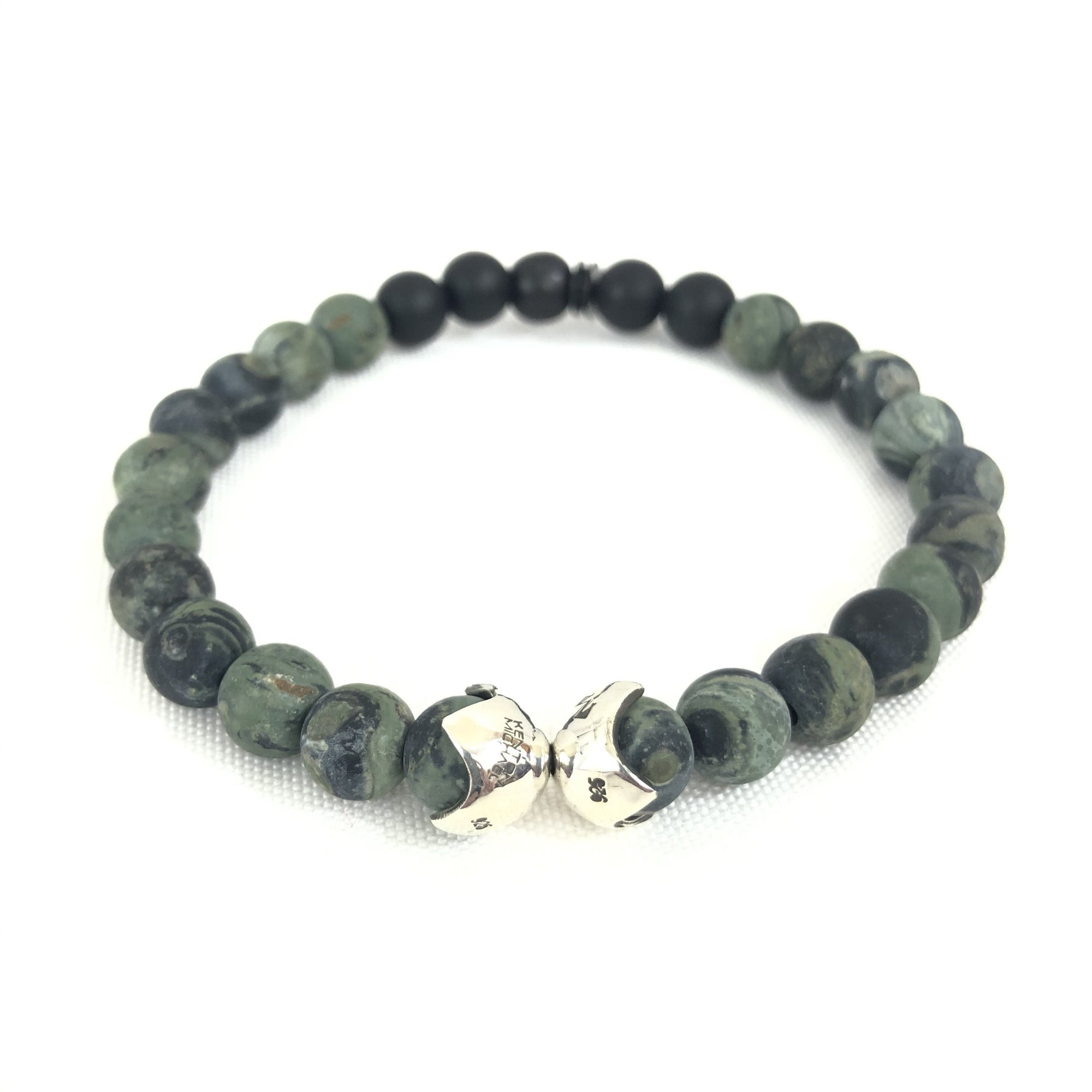 KENTON MICHAEL KAMBABA JASPER BEAD AND STERLING SHIELD BRACELET
