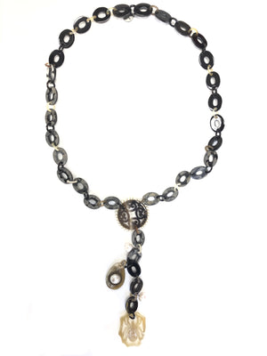 BUTTON DOWN STONE LINK AND MEDALLION NECKLACE - LONG