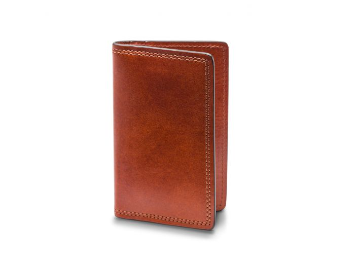 BOSCA 1911 CALLING CARD CASE WALLET IN AMBER DOLCE LEATHER