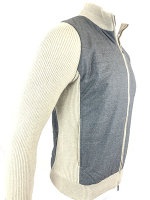 MEN'S GREY/CREAM LONG SLEEVE QUILTED FULL ZIP SWEATER