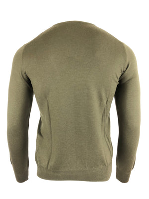 BUTTON DOWN V-NECK MERINO WOOL MEN'S CREW SWEATER - OLIVE