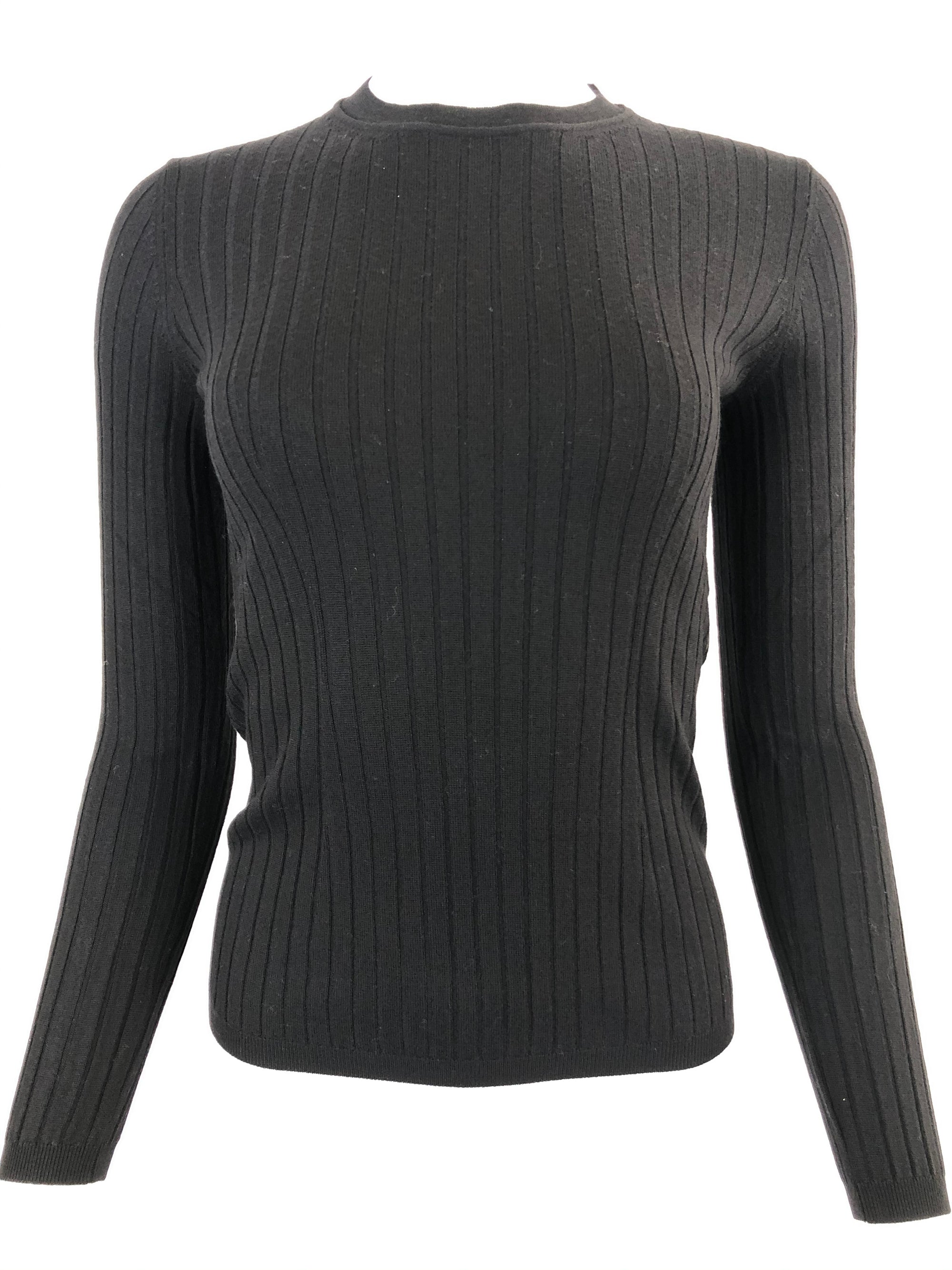 BRUNO MANETTI RIB CASHMERE CREW KNIT WOMEN'S SWEATER