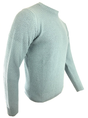 LUCIANO BARBERA TEXTURED SOLID CREWNECK MEN'S SWEATER - TEAL