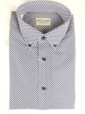 BUTTON DOWN NAVY DOT MEN'S SHIRT