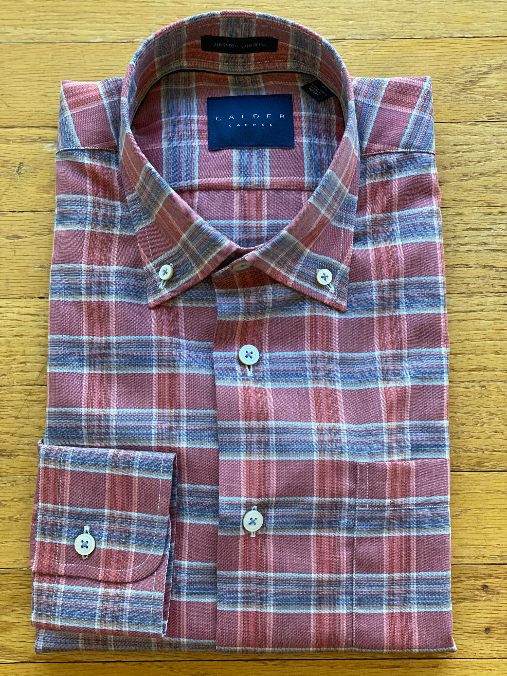 CALDER CARMEL TWILL RASPBERRY & LIGHT BLUE TIGHT PLAID MEN'S SPORT SHIRT
