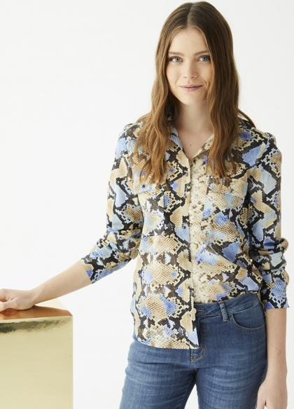 VILAGALLO BLUE PITON PRINT WOMEN'S SHIRT