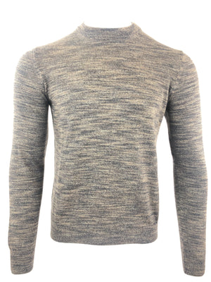 LUCIANO BARBERA MEN'S BROWN/TAN AND NAVY TEXTURED SWEATER