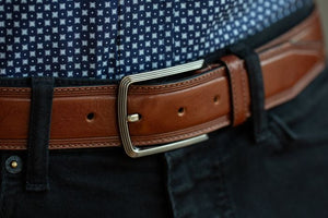 BOSCA 1911 SORRENTO LEATHER BELT - DARK BROWN