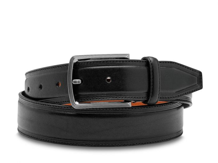 BOSCA 1911 SORRENTO LEATHER BELT - BLACK