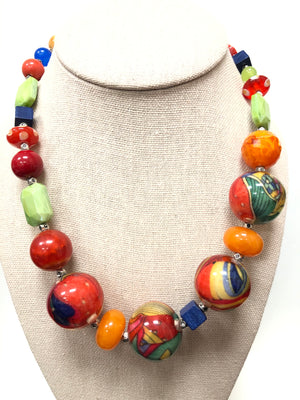 DARIA PAINTER MULTI-COLOR RESIN & GLASS NECKLACE