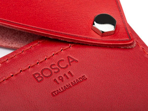 BOSCA 1911 FLIPPER CARD CASE WALLET - RED