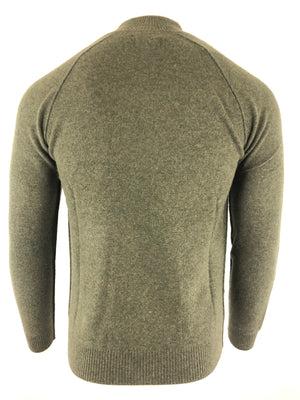 BUTTON DOWN MEN'S CASHMERE 1/4 ZIP SWEATER - OLIVE/NAVY