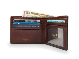 EXECUTIVE I.D. WALLET IN DARK BROWN DOLCE LEATHER