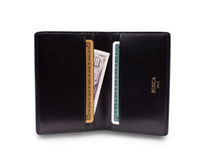 BOSCA 1911 CALLING CARD CASE WALLET IN BLACK DOLCE LEATHER