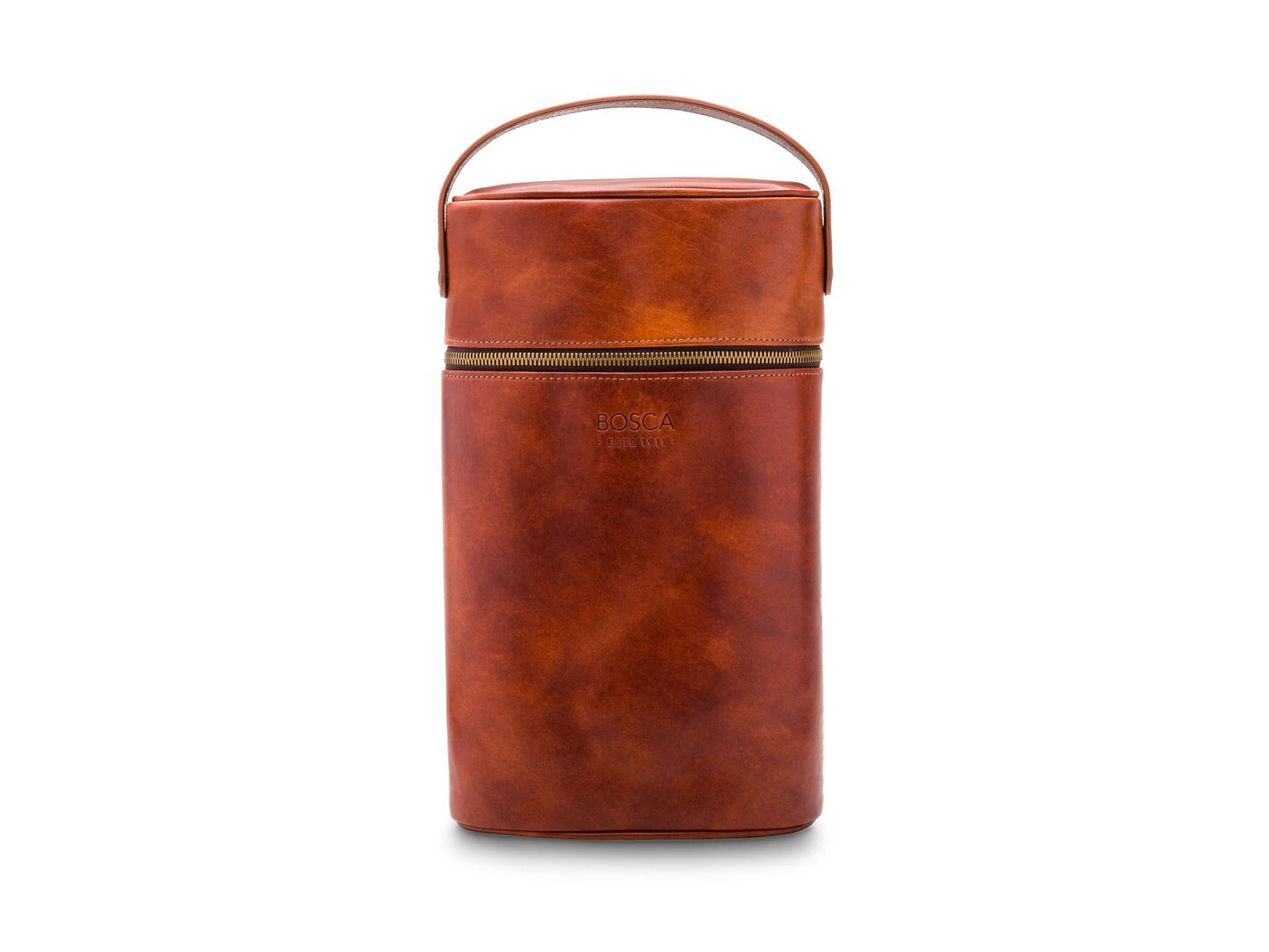 BOSCA 1911 LEATHER TWO BOTTLE WINE CASE - LIGHT BROWN