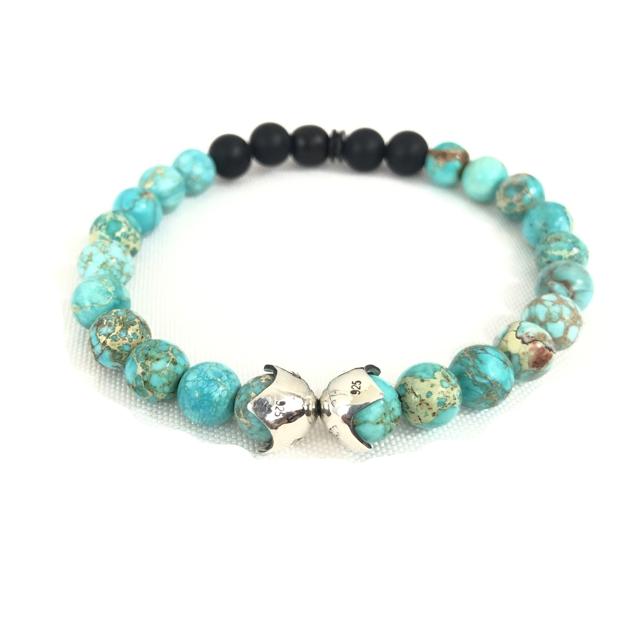 KENTON MICHAEL TURQUOISE BEAD AND STERLING SHIELD BRACELET