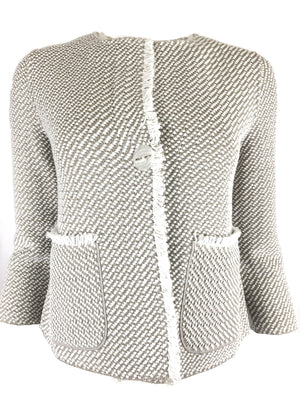 BRUNO MANETTI CHANEL WOMEN'S JACKET - TAUPE & WHITE