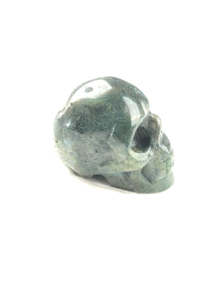 BUTTON DOWN CARVED STONE MEDIUM SKULL - MOSS AGATE