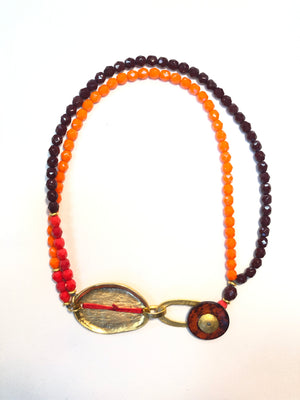 BUTTON DOWN ORANGE AND BROWN BEAD NECKLACE