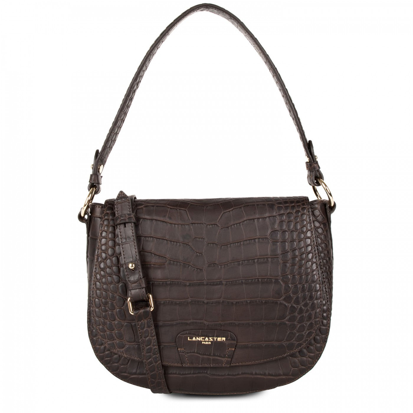 LANCASTER EXOTIC CROCO SOFT SHOULDER BAG