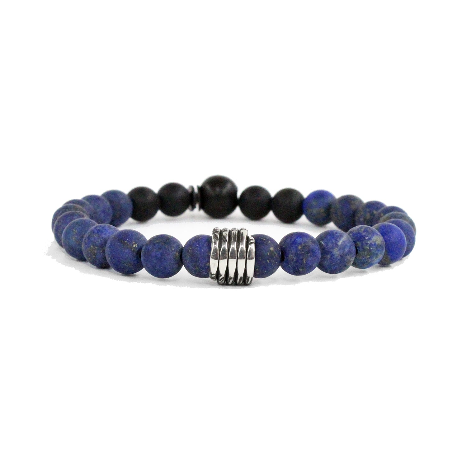 KENTON MICHAEL BLUE LAPIS WITH STERLING SILVER COIL BRACELET