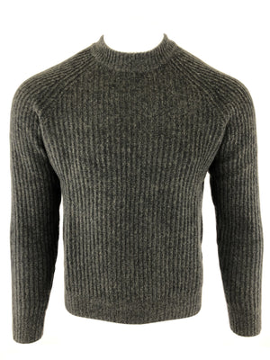 BUTTON DOWN MEN'S RIBBED CASHMERE SWEATER - OLIVE