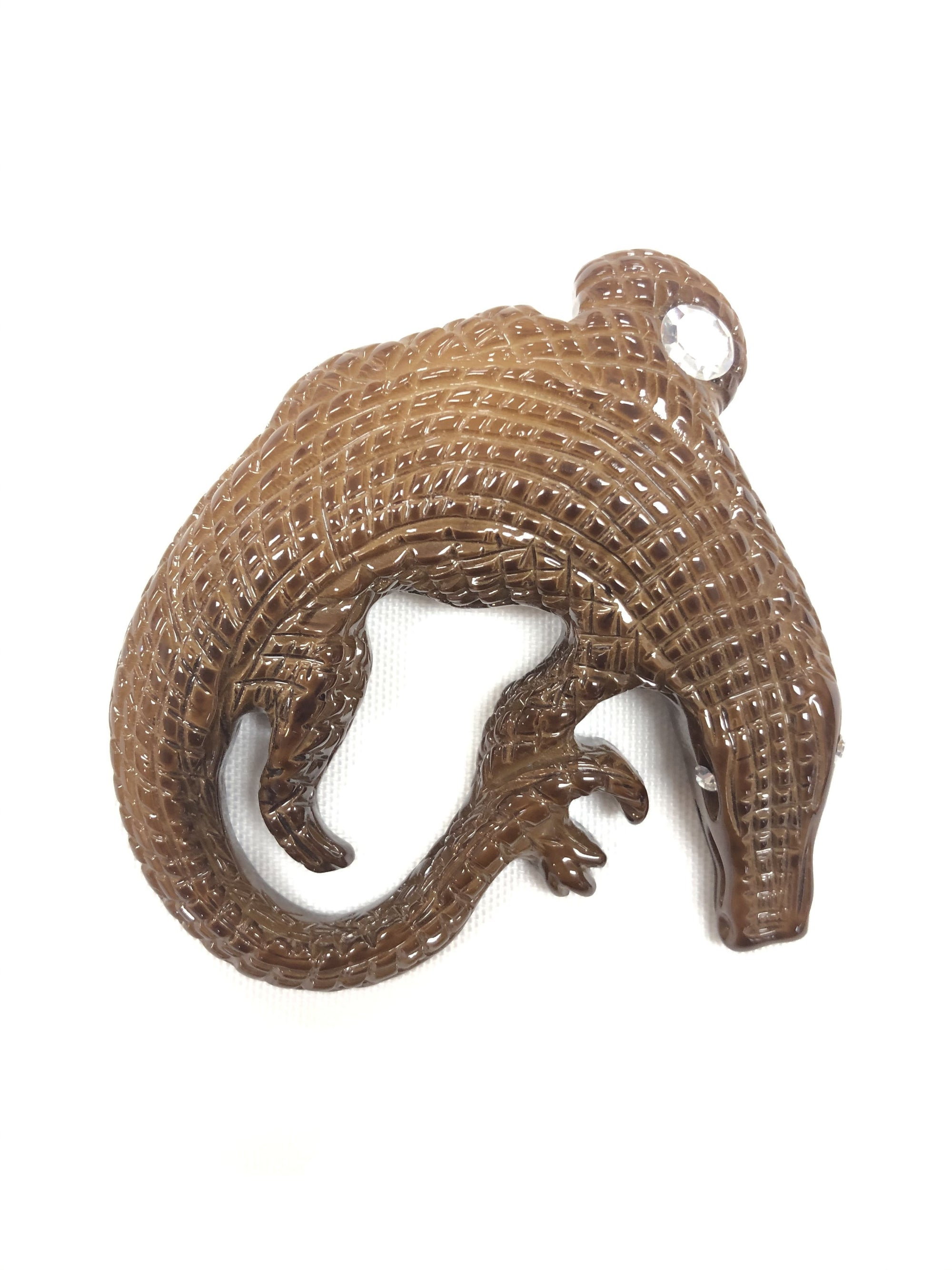 ANGELA CAPUTI BROWN ALLIGATOR BROOCH