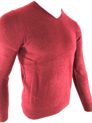 BUTTON DOWN MEN'S CASHMERE V-NECK SWEATER - CURRANT
