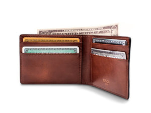 BOSCA 1911 SMALL BIFOLD WALLET IN DARK BROWN DOLCE LEATHER