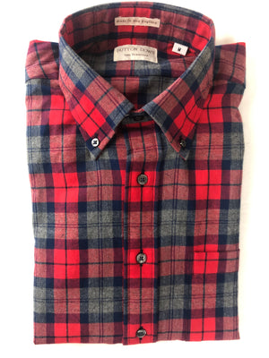 BUTTON DOWN RED/NAVY PLAID SPORT SHIRT