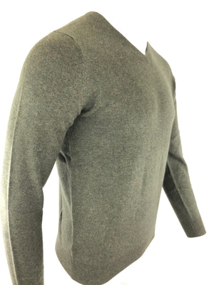 BUTTON DOWN MEN'S CASHMERE V-NECK SWEATER - OLIVE