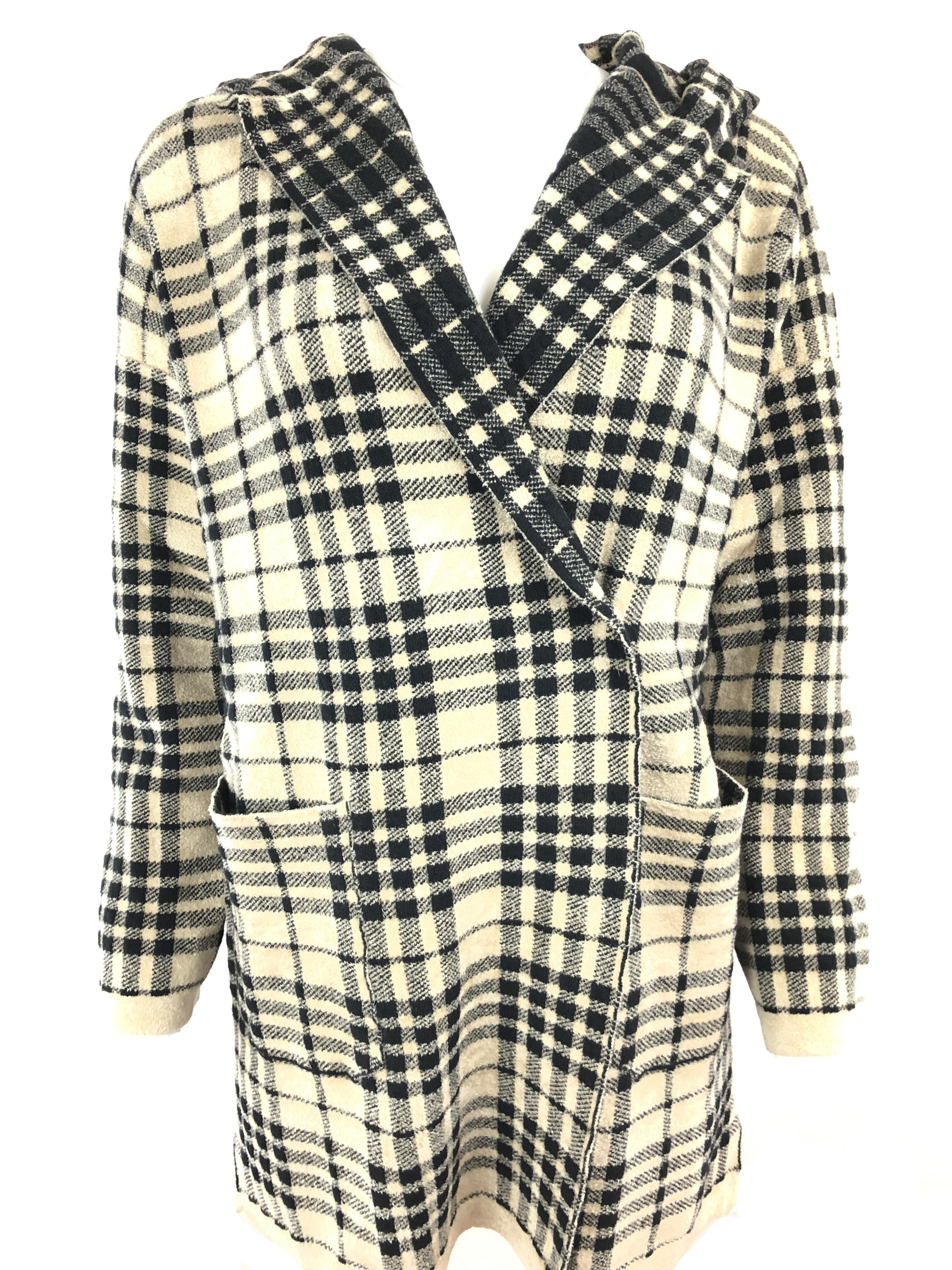 CIVIDINI WOOL PLAID KNITTED COAT - BLACK/TAN