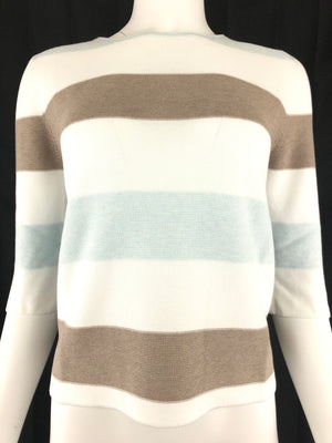HUBERT GASSER WOMEN'S WIDE STRIPE SHORT SLEEVE SWEATER