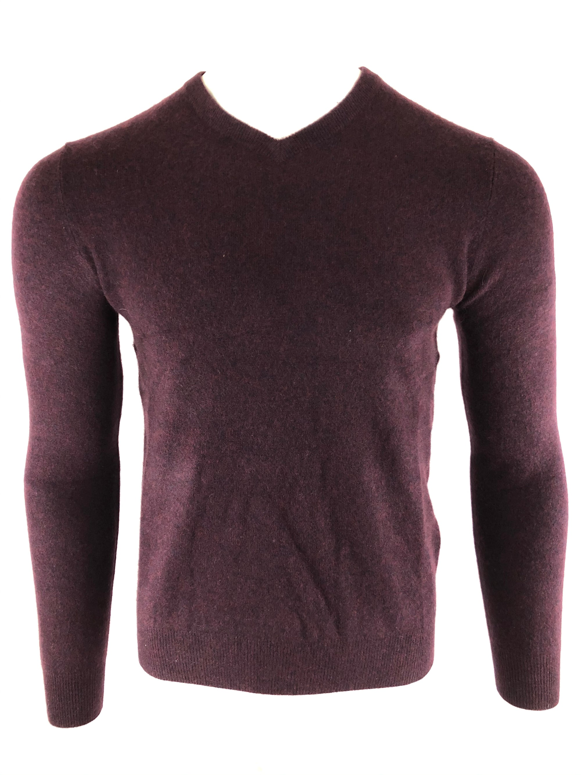 BUTTON DOWN MEN'S CASHMERE V-NECK SWEATER - AUBERGINE