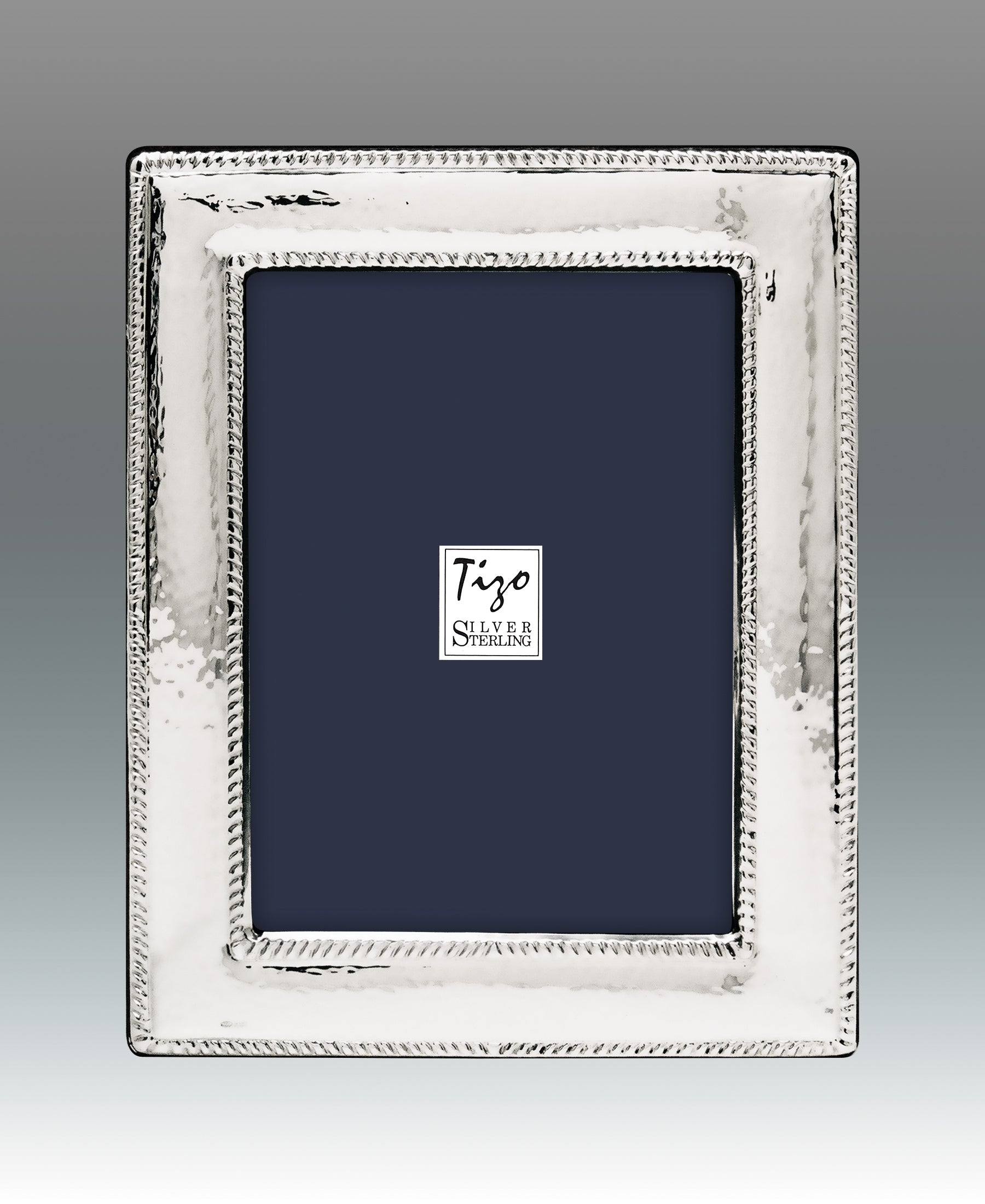 TIZO HAMMERED DOUBLE BEADED STERLING SILVER FRAME