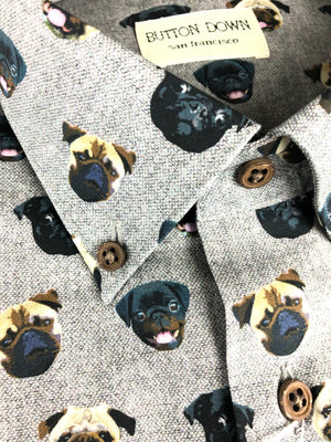 BUTTON DOWN PUG DOG MEN'S SHIRT