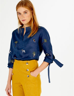 EMBROIDERED ABBEY SHIRT NAVY LINEN (4587867177037)