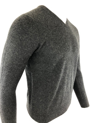 BUTTON DOWN MEN'S CASHMERE V-NECK SWEATER - SMOKE
