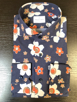 EMANUEL BERG NAVY, ORANGE, AND WHITE FLOWERS MEN'S SHIRT